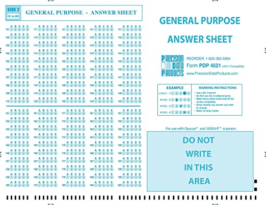 image relating to Printable Scantron referred to as PDP-4521 (100/pkg) 4521 Suitable check out sheet