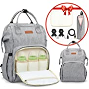 Diaper Bag Backpack Large Capacity Multifunction Waterproof Unisex Travel Backpack Nappy Bags with USB Charging Port& Cable Bonus Insulated Bag Soft Changing Pad Stroller Straps