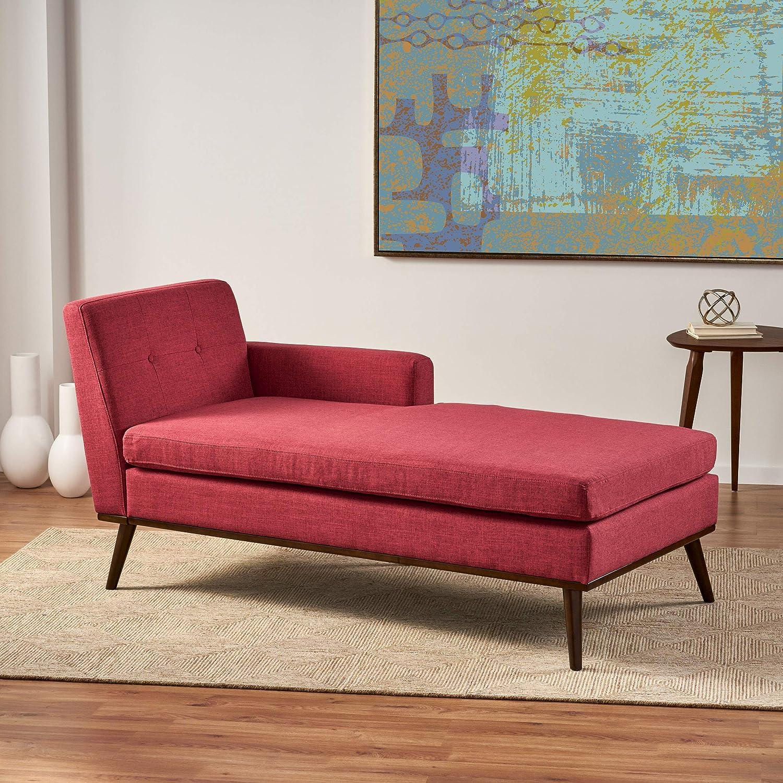 Amazon Com Christopher Knight Home Stormi Mid Century Modern Fabric Chaise Lounge Red Walnut Furniture Decor