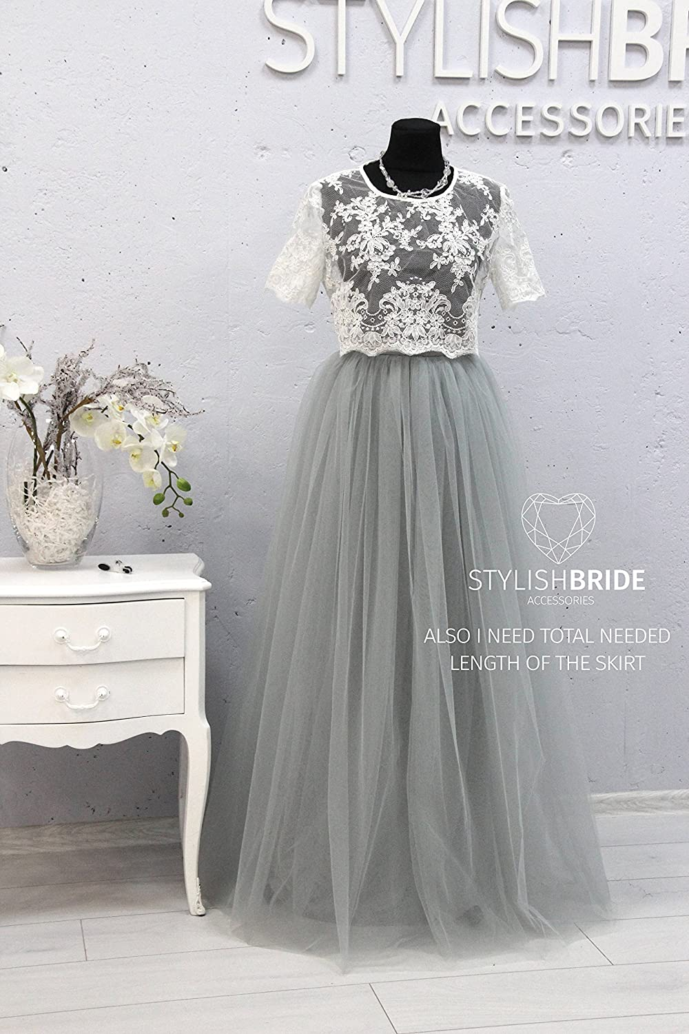 10187f3c075b3 Amazon.com  Belle Light Gray Dress Tulle Set Lace 002 Crop Top with Sleeves  and Tulle skirt long