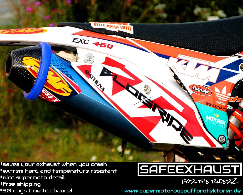 orange Supermoto Motorrad Auspuffprotektor Auspuffschutz Auspuffring Schutzring Exhaust Protector Slider Can Cover Silencer Enduro Motoross L