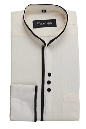 0b7919d3650 The Standard Men s Casual Shirt - SKU0079 Cream 38  Amazon.in ...