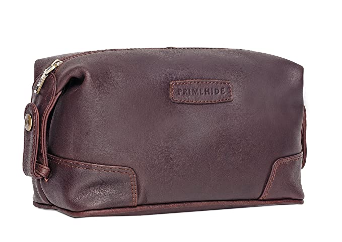 Prime Hide Men s Thick Brown Oiled Leather Wash Bag Toiletry Bag ... c9213b255455f