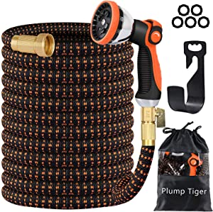 Plump Tiger Expandable Garden Hose with 10 Function Zinc Spray Nozzle, 100ft No-Kink Flexibility Water Hose, 4-Layers Latex Core and 3/4 Solid Brass Fittings Hose Pipe for Watering & Washing (Orange)