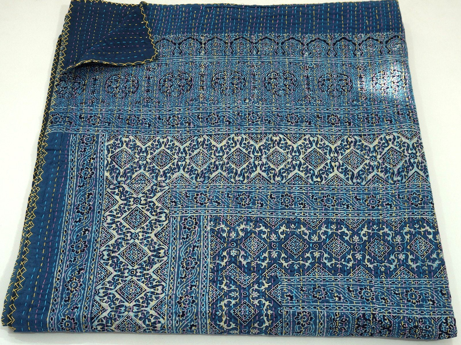 Blue Kantha Quilt, King Size Hand Stitch Kantha Ajrakh Bed-cover, Indian Bohemian Kantha Ajrakh Quilt