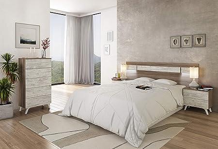 duehome HomeSouth - Sinfonier 5 cajones, Comoda chinfonier Dormitorio Modelo Soto, Color Trufa y Cañón Blanco, Medidas: 60 cm (Ancho) x 118,5 cm (Alto) x 37,8 cm (Fondo)