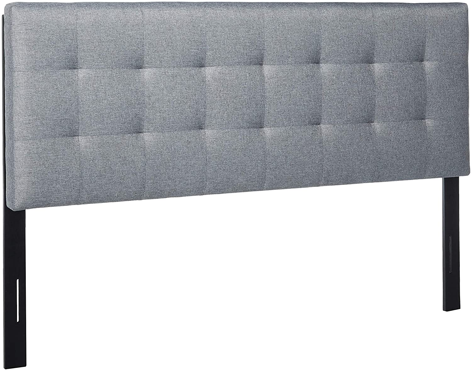 POLY & BARK EM-297-GRY Guilia Square-Stitched Headboard, Queen Size, Gray Poly and Bark