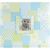 MCS MBI 12.5x13.5 Inch Baby Scrapbook Album with 12x12 Inch Pages with Photo Opening, Blue Quilt Design (860071)
