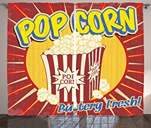 """Ambesonne Retro Curtains, Vintage Grunge Pop Corn Commercial Print Old Fashioned Cinema Movie Film Snack, Living Room Bedroom Window Drapes 2 Panel Set, 108"""" X 84"""", Ruby Yellow"""