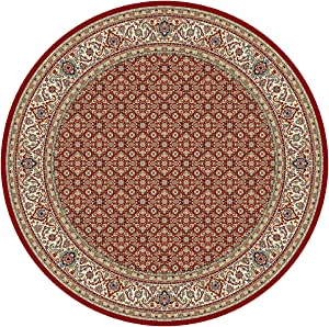 """Dynamic Rugs Ancient Garden 57011-1414 Round Rug, 7'10"""", Red/Ivory"""