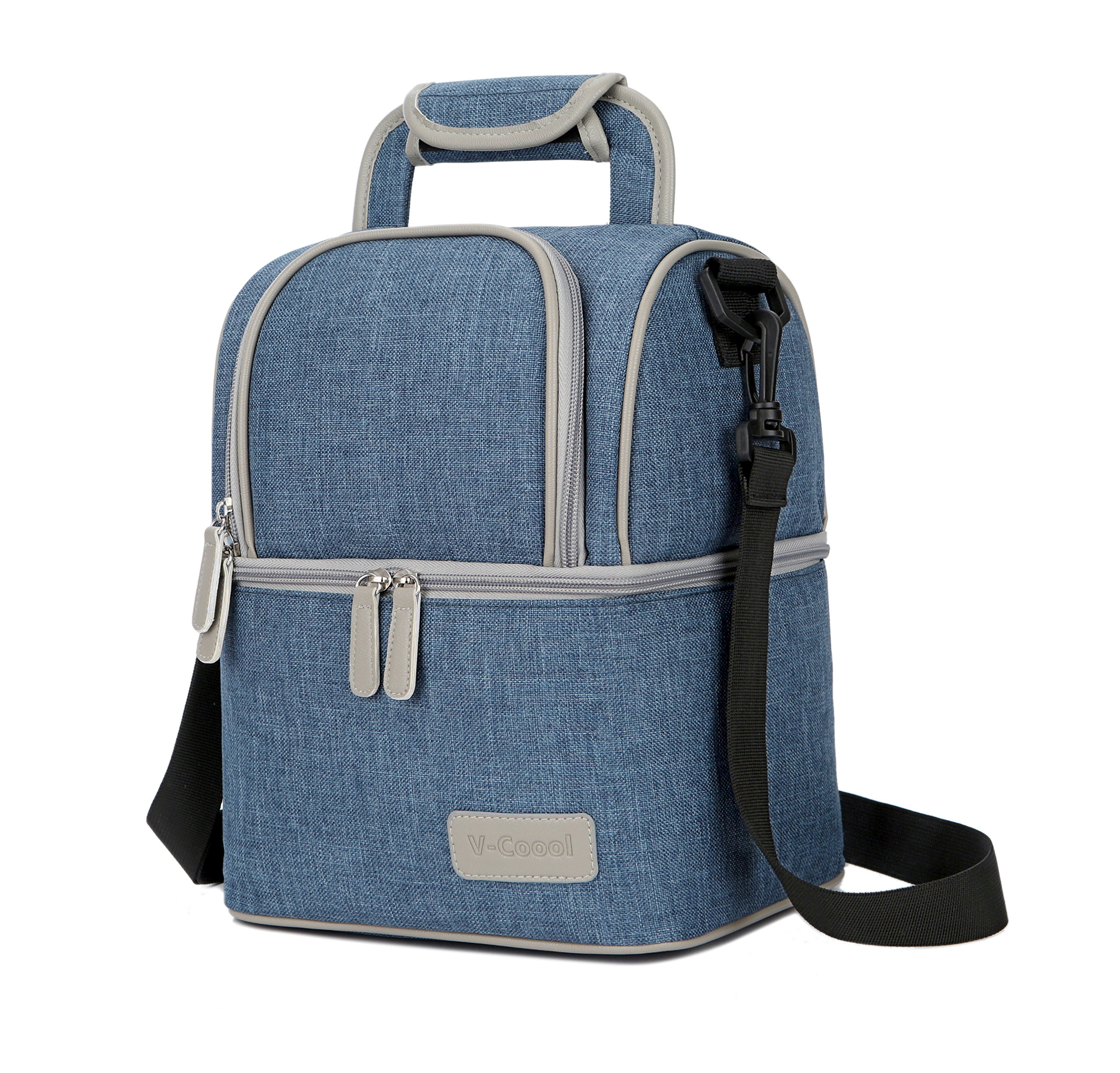 Lunch Bag, Portable Cooler Bag Insulated Thermal Lunch Box with Shoulder Strap Baby Milk Backpack Blue