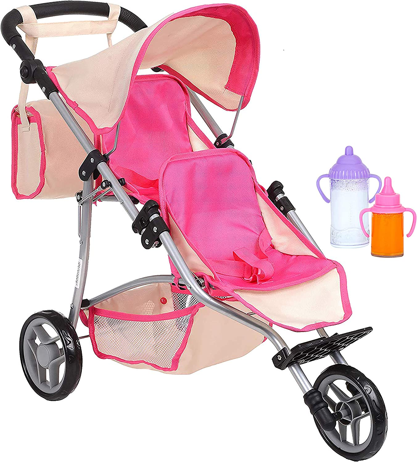 Exquisite Buggy Twin Doll Stroller with Diaper Bag and Hot Pink/Off White Design with 2 Free Magic Bottles