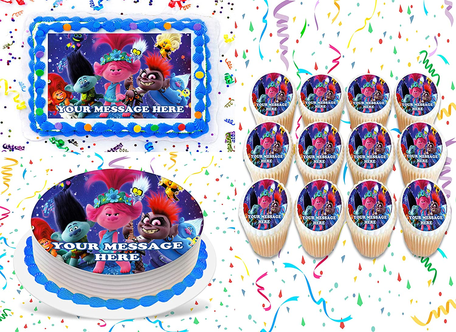 Details about  /Trolls 7 Inch Edible Image Cake /& Cupcake Toppers// Birthday //Party