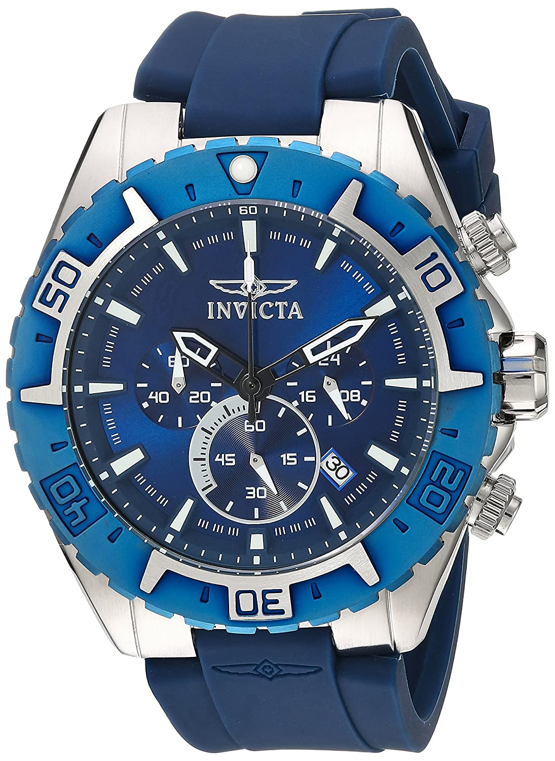 Invicta Men s Aviator Stainless Steel Quartz Watch with Silicone Strap, Blue, 26 Model 22522