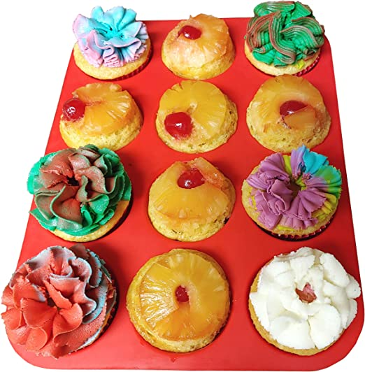 12 Cup Silicone Muffin Cupcake Baking Pan Non Stick Dishwasher Microwave Safe