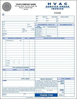 hvac service orderinvoice 3 copy triplicate 85x11 personalized