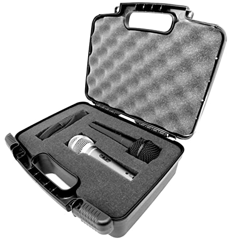 STUDIOCASE Travel Handheld Dual ( 2 ) Microphone Hard Case With Foam - Fits  Two Shure SM57 , SM48 , SM58 , PG48 Vocal Mics and Sennheiser or BEHRINGER