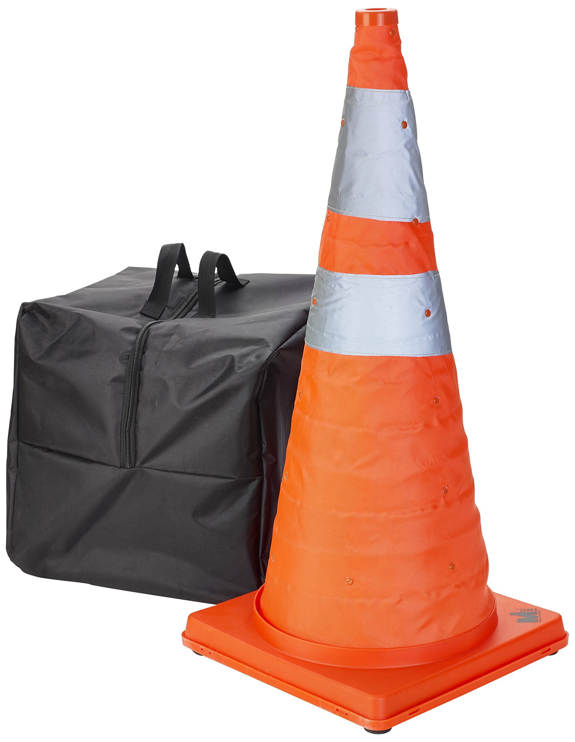 Mutual Industries 17714-5-28 Collapsible Cones, 28'' Height, 12'' Length, 12'' Width, Plastic, Orange and Reflective Silver (Pack of 5)