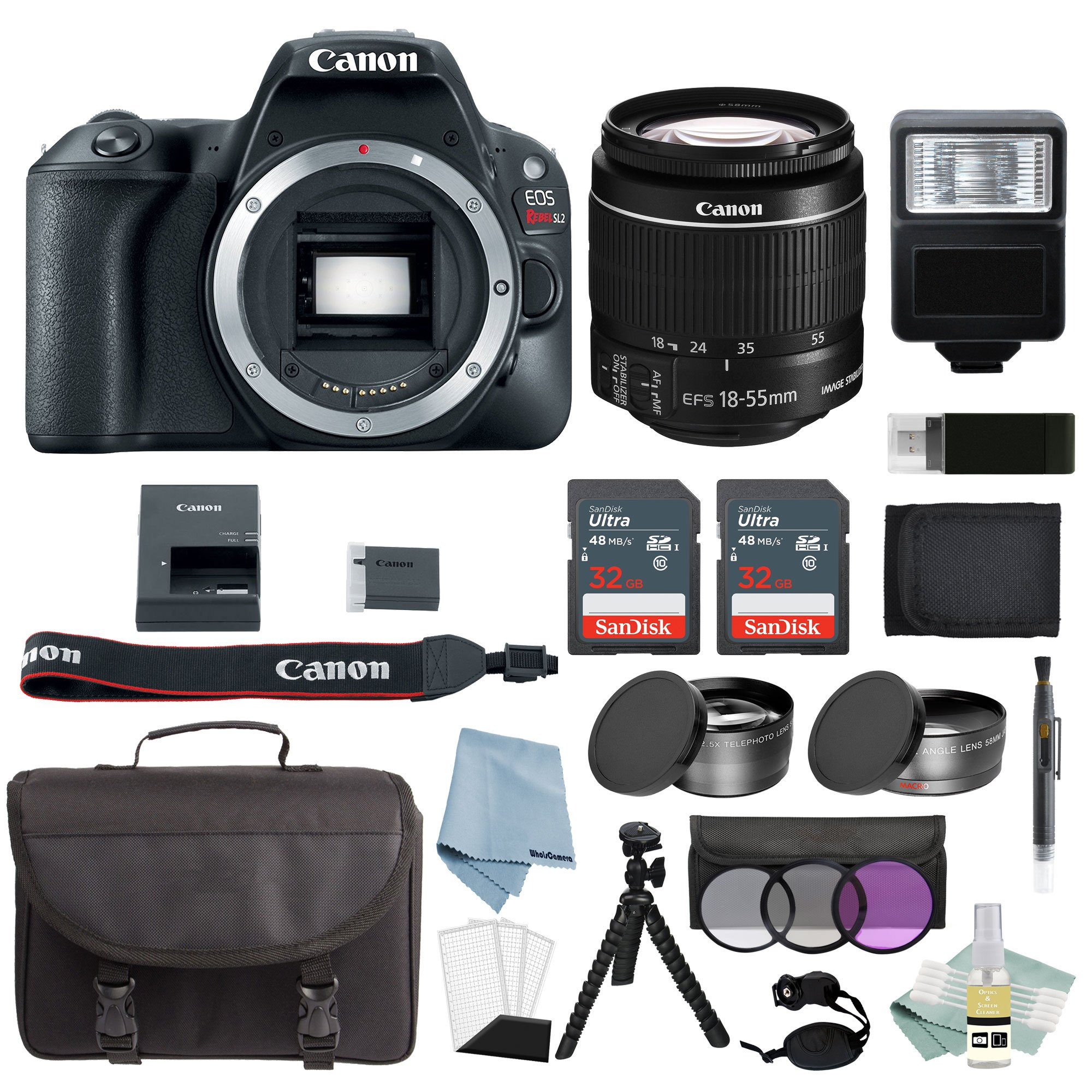Canon EOS Rebel SL2 Bundle With EF-S 18-55mm f/4-5.6 IS STM Lens + Canon SL2 Camera Advanced Accessory Kit - Canon SL2 Bundle Includes EVERYTHING You Need To Get Started