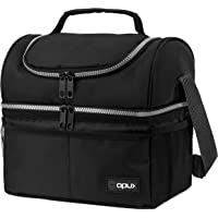 Insulated Dual Compartment Lunch Bag for Men, Women   Double Deck Reusable Lunch Box Cooler with Shoulder Strap…