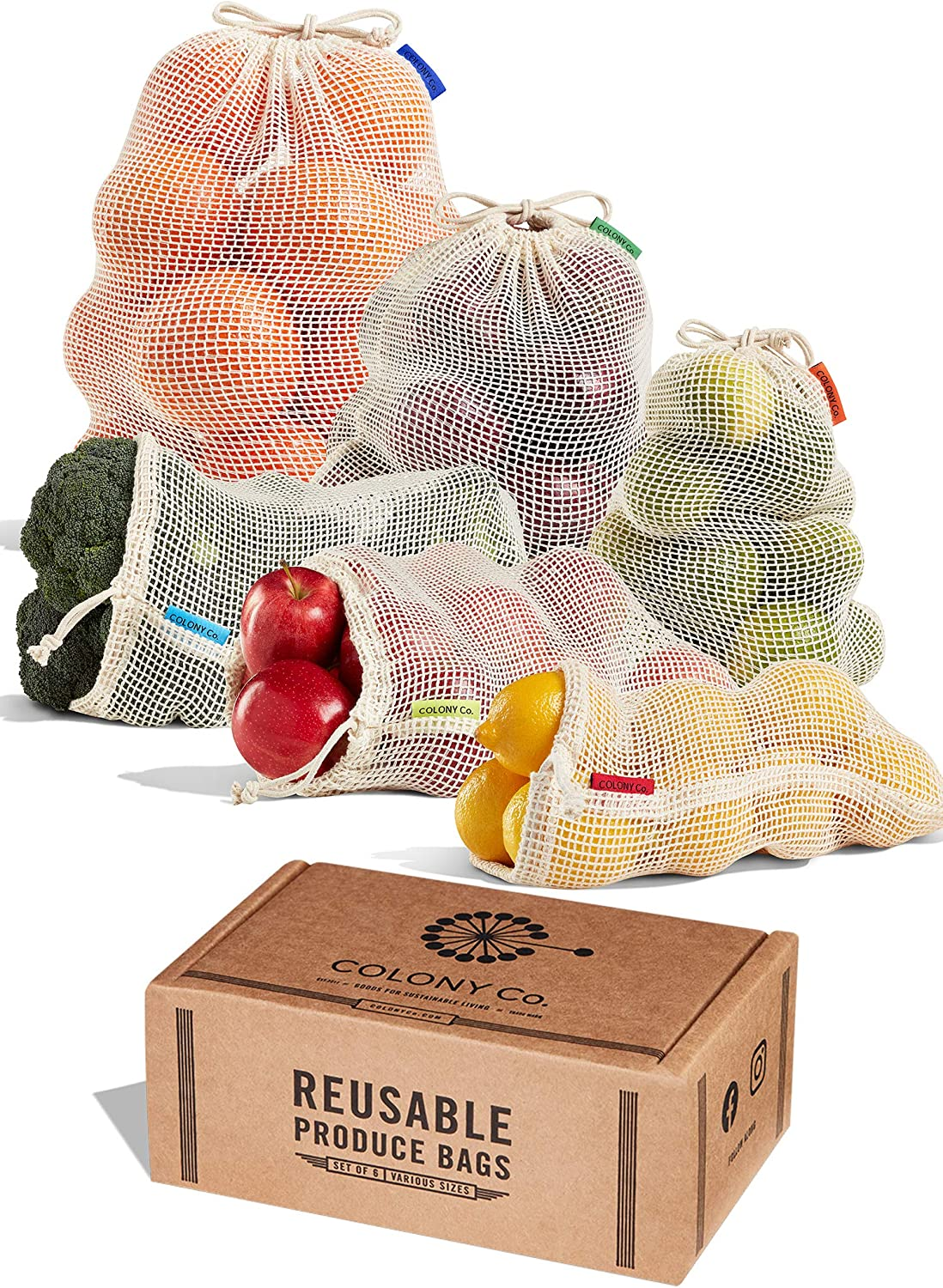 Reusable Produce Bags, Organic Cotton Mesh, Washable, Tare Weight Label