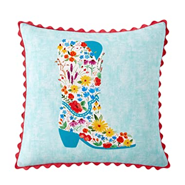 The Pioneer Woman Flowering Boot Decorative Throw Pillow, 18  x 18