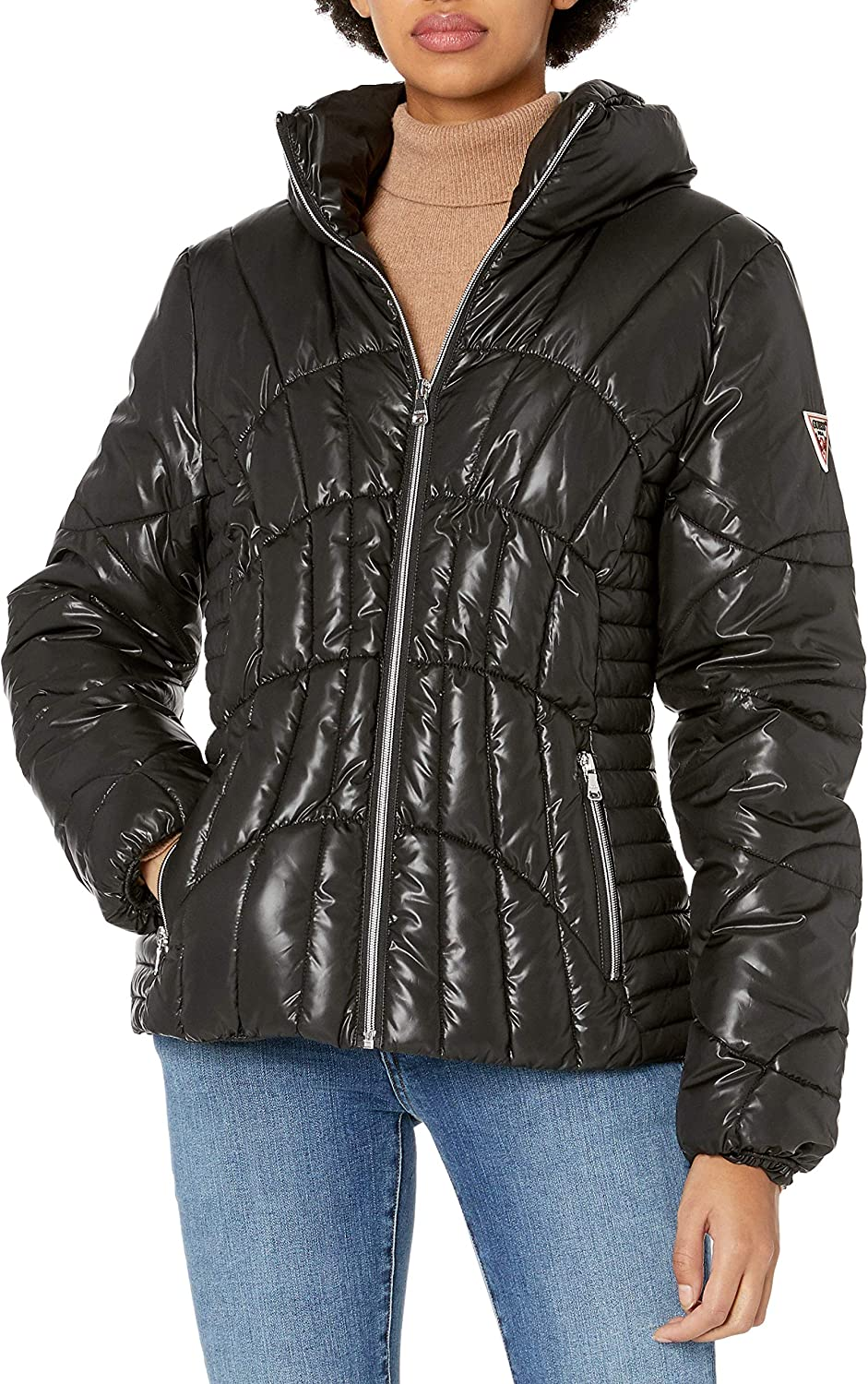 GUESS womens Hooded Quilted Puffer Jacket With Removable Faux Fur Trim