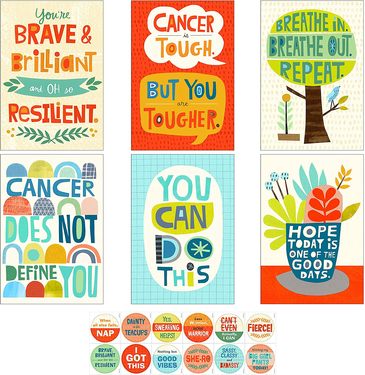 Amazon Com Hallmark Encouragement Cards Assortment For Cancer Illness Tough Times 12 Cards And Envelopes 12 Stickers Model 5stz5109 Office Products