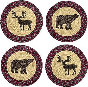 Doublucky Potholders Thread Weave Trivets 4 Pack Placemats Vintage Round Trivets Hot Pads Farmhouse Primitive Deer Bear Teapot Trivet for Hot Pot and Pans Holder 9inch