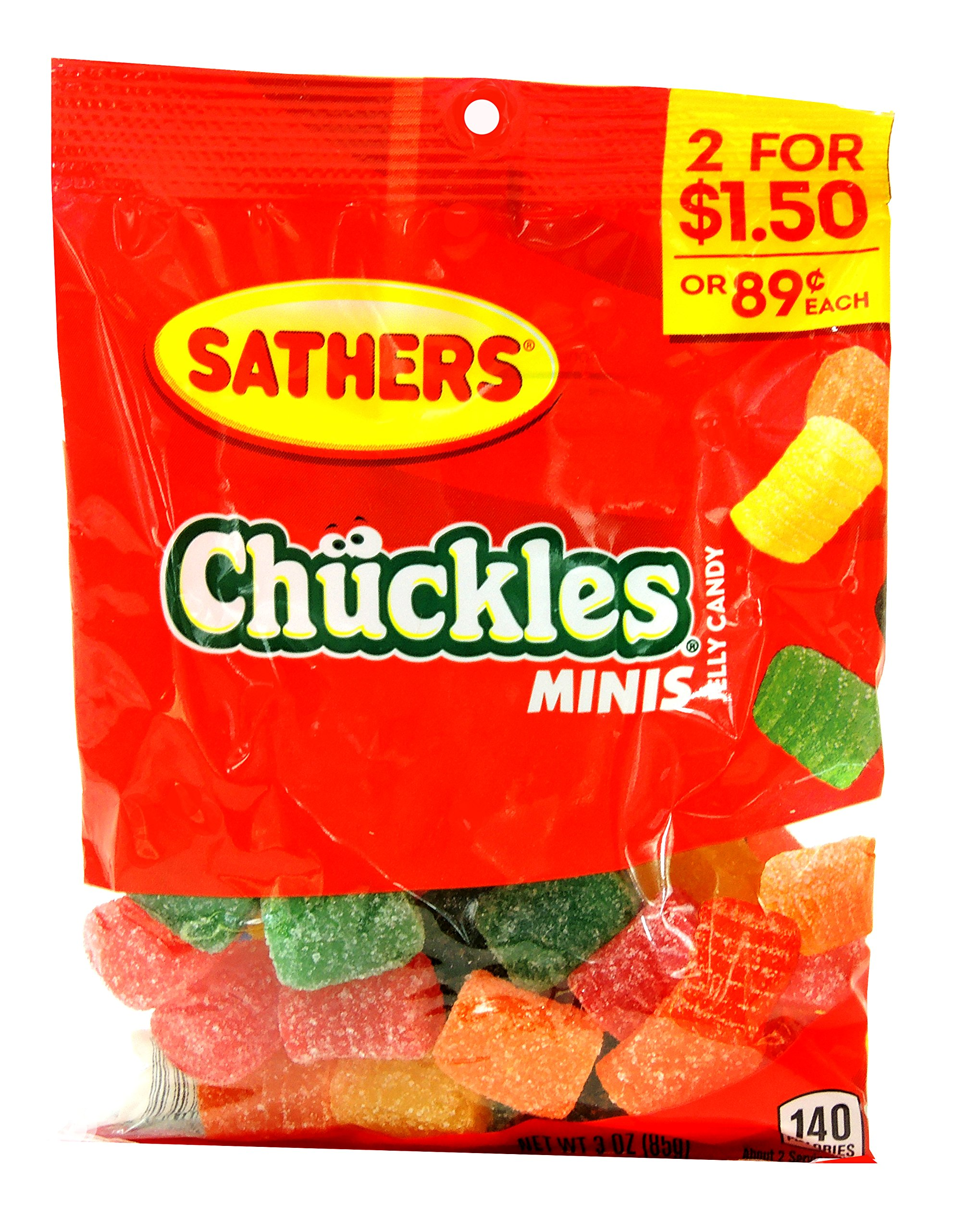 Sathers Chuckles Minis Jelly Candy 3 Oz Each (12 in a Box)