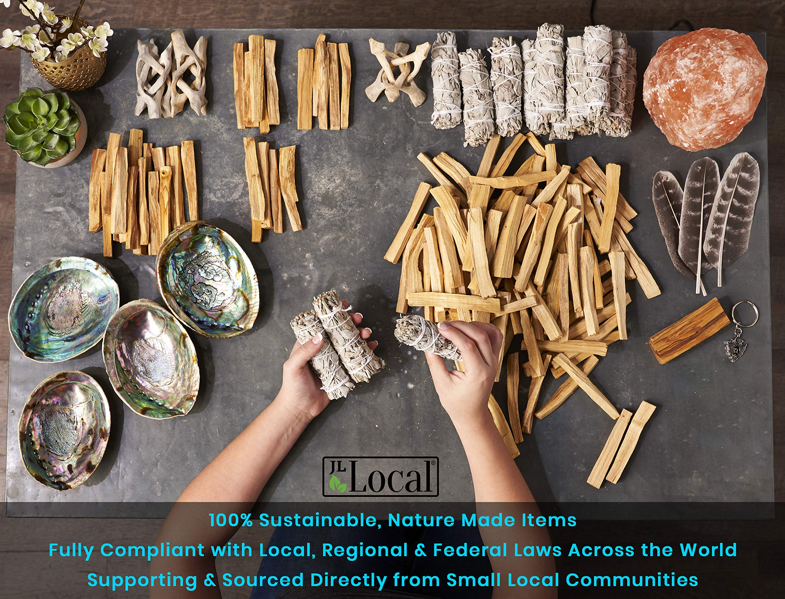 JL Local Smudge Kit - Sage, Palo Santo, Abalone Shell, Feather + More! Yoga, Meditating, Purify, Cleanse by JL Local (Image #6)