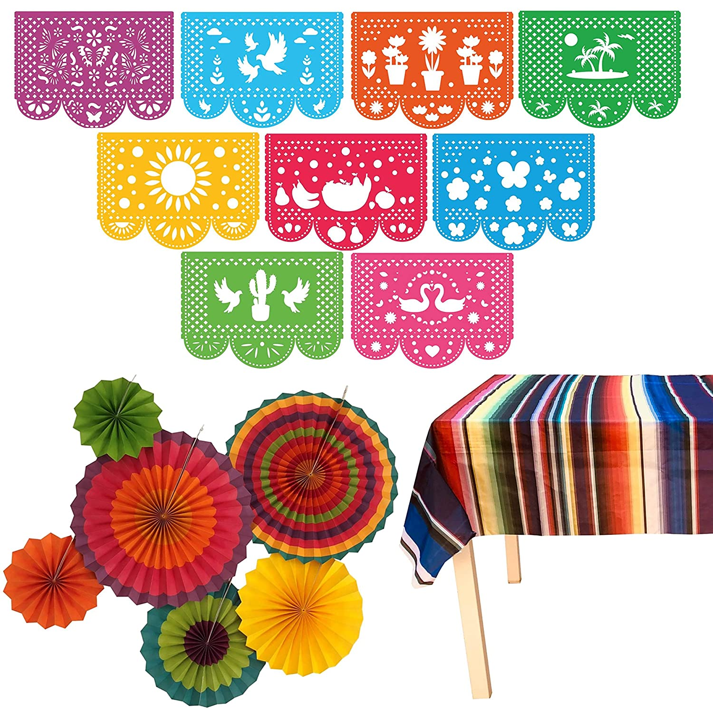 Coco Fiesta Party Supplies Plastic Serape Table Cover Decor for Wedding Birthday | Large Felt Papel Picado Banner Cinco De Mayo Taco Mexican Decorations Theme Colorful Paper Fans JELDA International etc