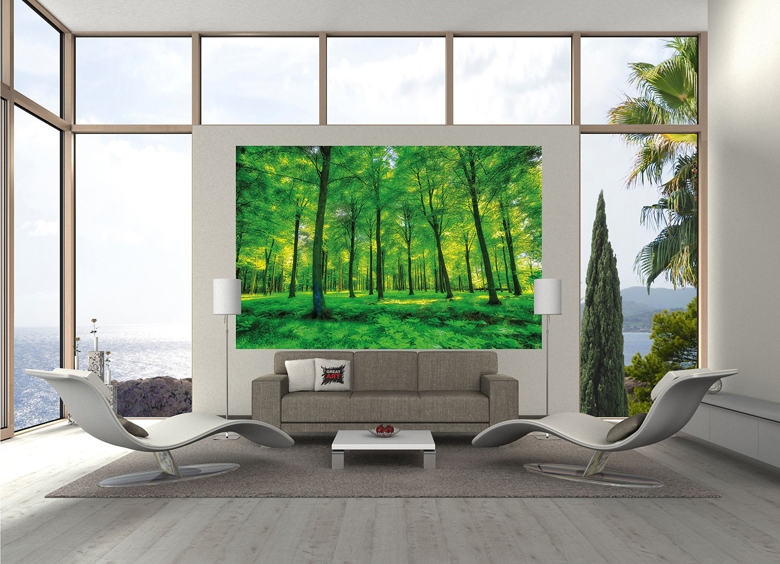 GREAT ART Wallpaper Trees Forest – Nature Wall Photo Decoration Natural Landscape Poster Summer Relax Sun Plants Flora Mural (82.7x55 Inch) by Great Art (Image #2)