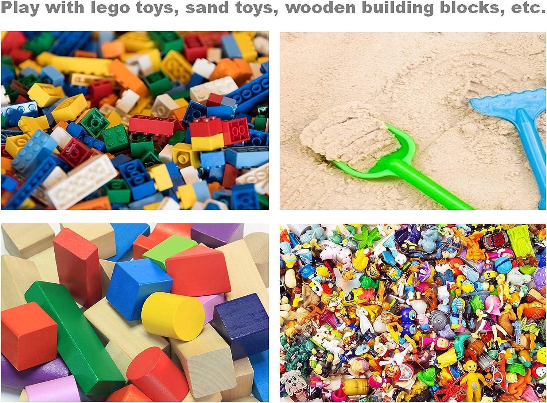 Micaddy bolsa de almacenamiento plegable de Lego para ni/ños Cesta organizadora de juguetes con alfombrilla de juego para juguetes al aire libre