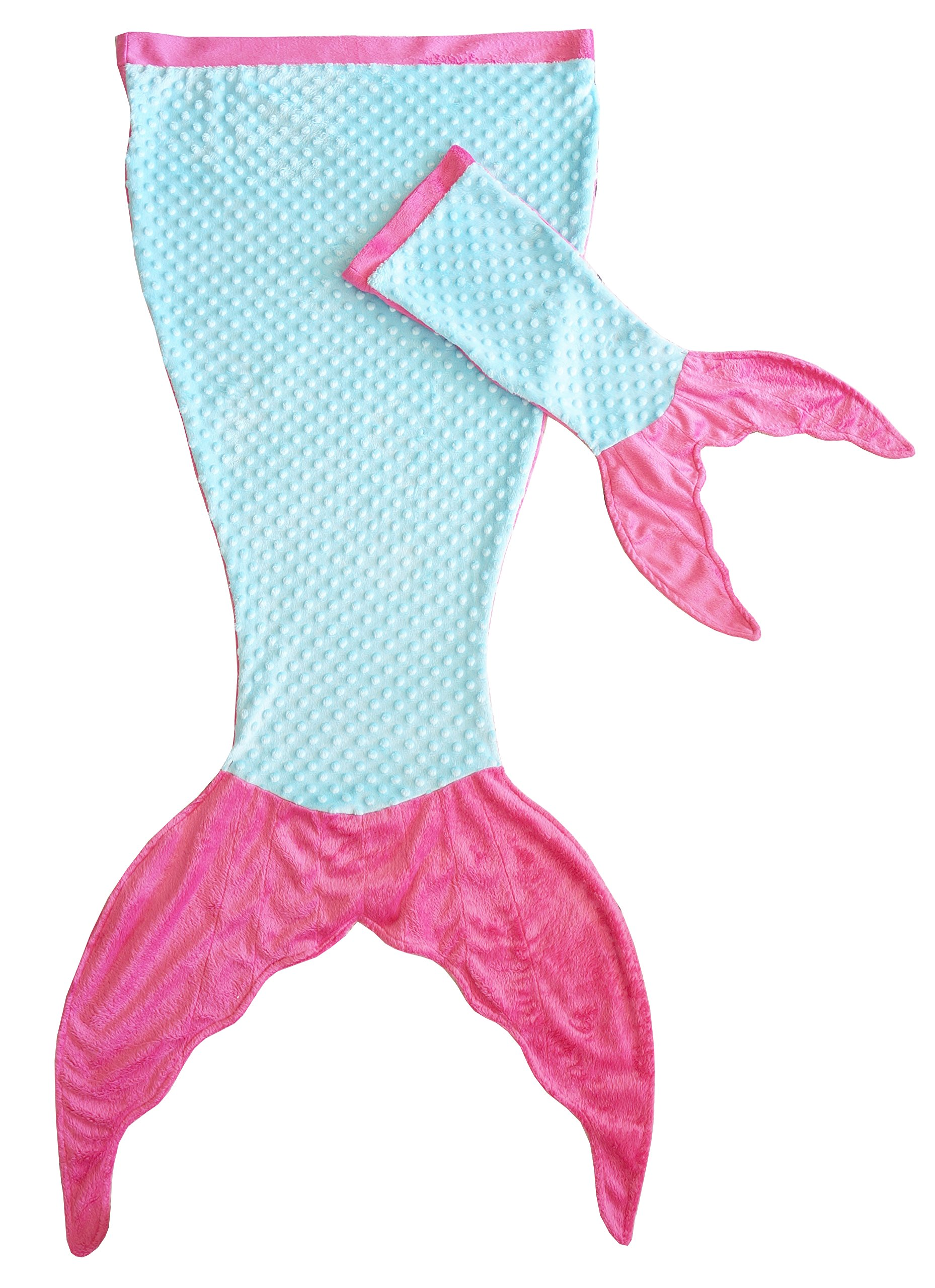 Posh Peanut Mermaid Blanket For Kids - Comfortable Blankie for Children Ages 3-13 with FREE Toy Doll Tail Blanket (Turquoise/Pink)