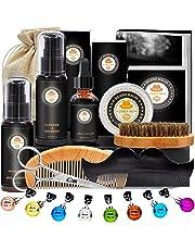 Kit de Barbe Homme Complet Coffret Barbe avec Shampoing Barbe,Guide Barbe,Huile Barbe,Barbe Peigne,Brosse a Barbe,Baume à Barbe,Ciseaux à Barbe,Sac,Livre électronique,Soin Barbe Cadeaux Pour Homme