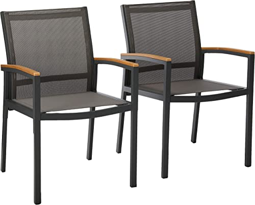 Christopher Knight Home 305223 Emma Outdoor Mesh and Aluminum Frame Dining Chair Set of 2
