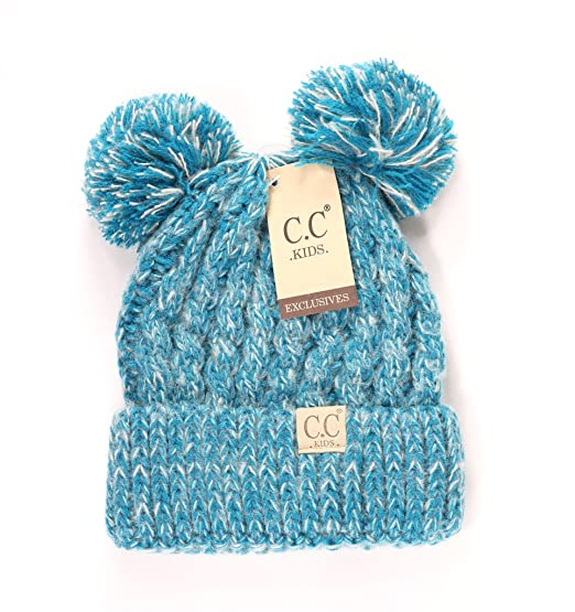 Color  Crane Clothing Co. Women s Kids Double Pom CC Beanies One Size Teal acae22e939d9