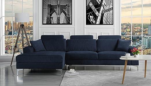 Divano Roma Furniture Moderno sofá de Tela de Lino, tamaño ...
