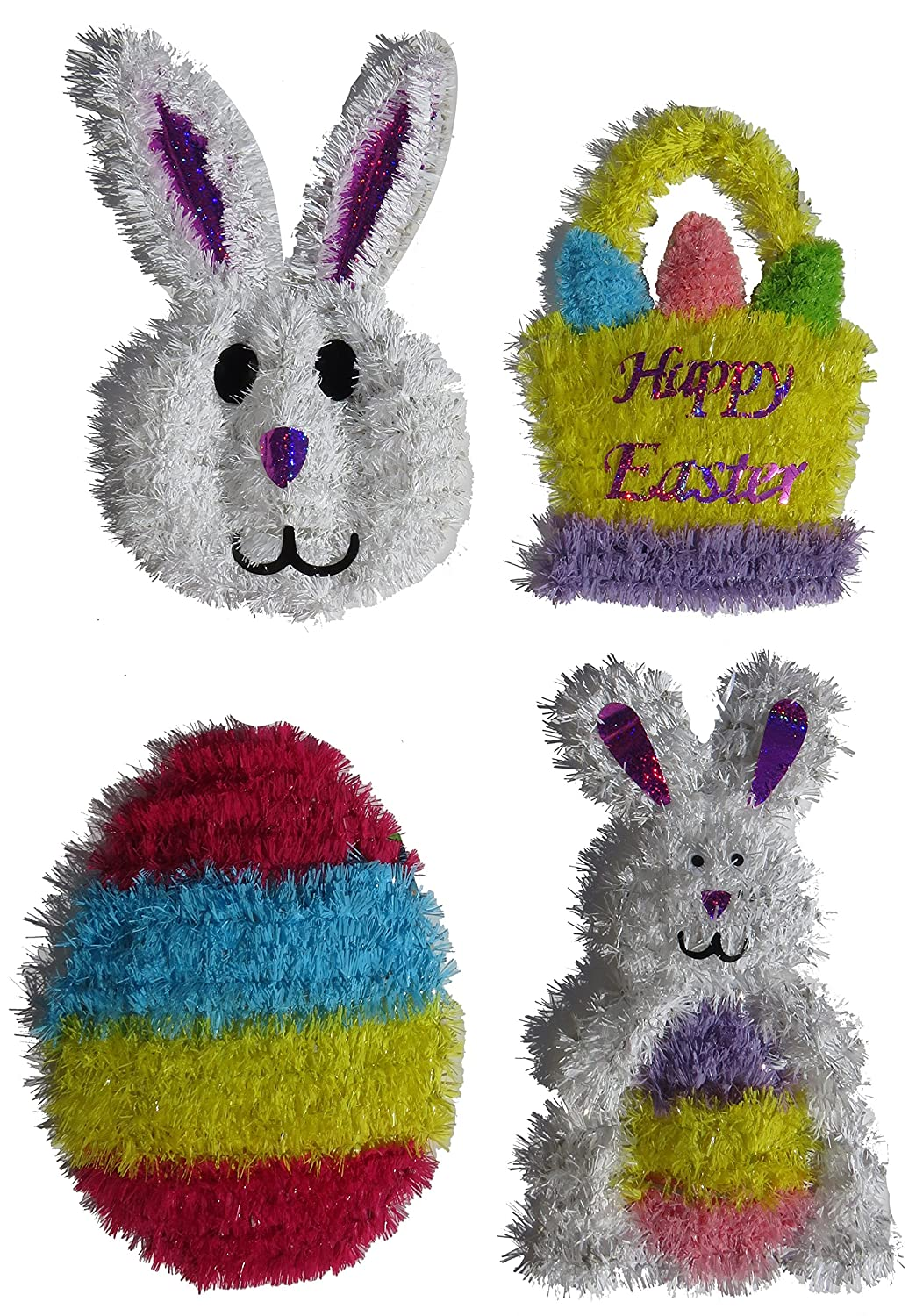Tinsel Easter Wreath 4 Piece Set Bunny Basket Egg Bunny with Egg Deluxe Decorations Greenbrier