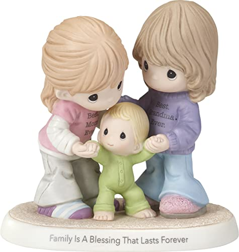 Precious Moments Family is A Blessing That Lasts Forever Mom Grandma with Baby Bisque Porcelain Home Decor Collectible Figurine 173009,Multicolor