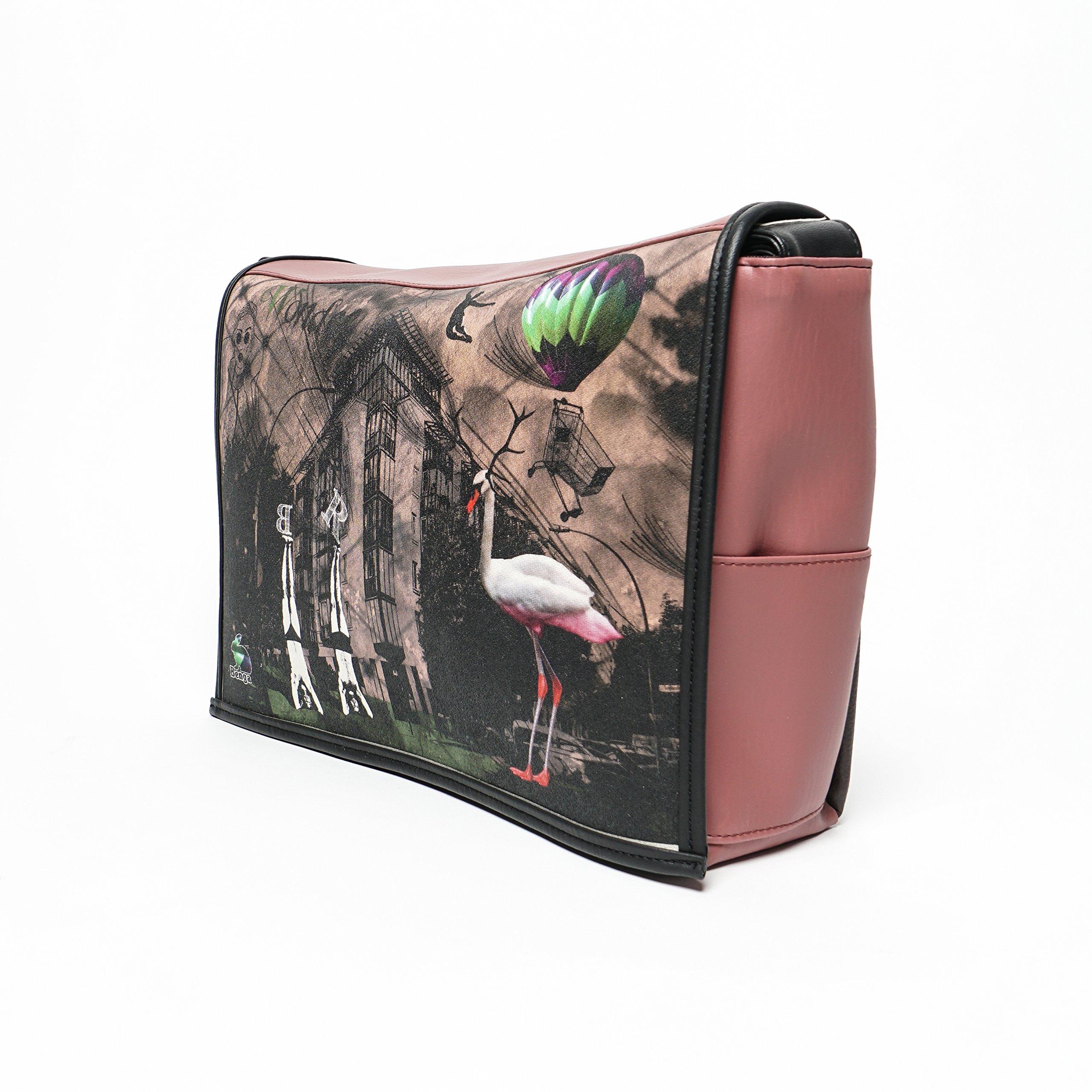 Student - Wonder Pink Print - Benga Rabbit - Brown Vegan Leather Messenger Bag