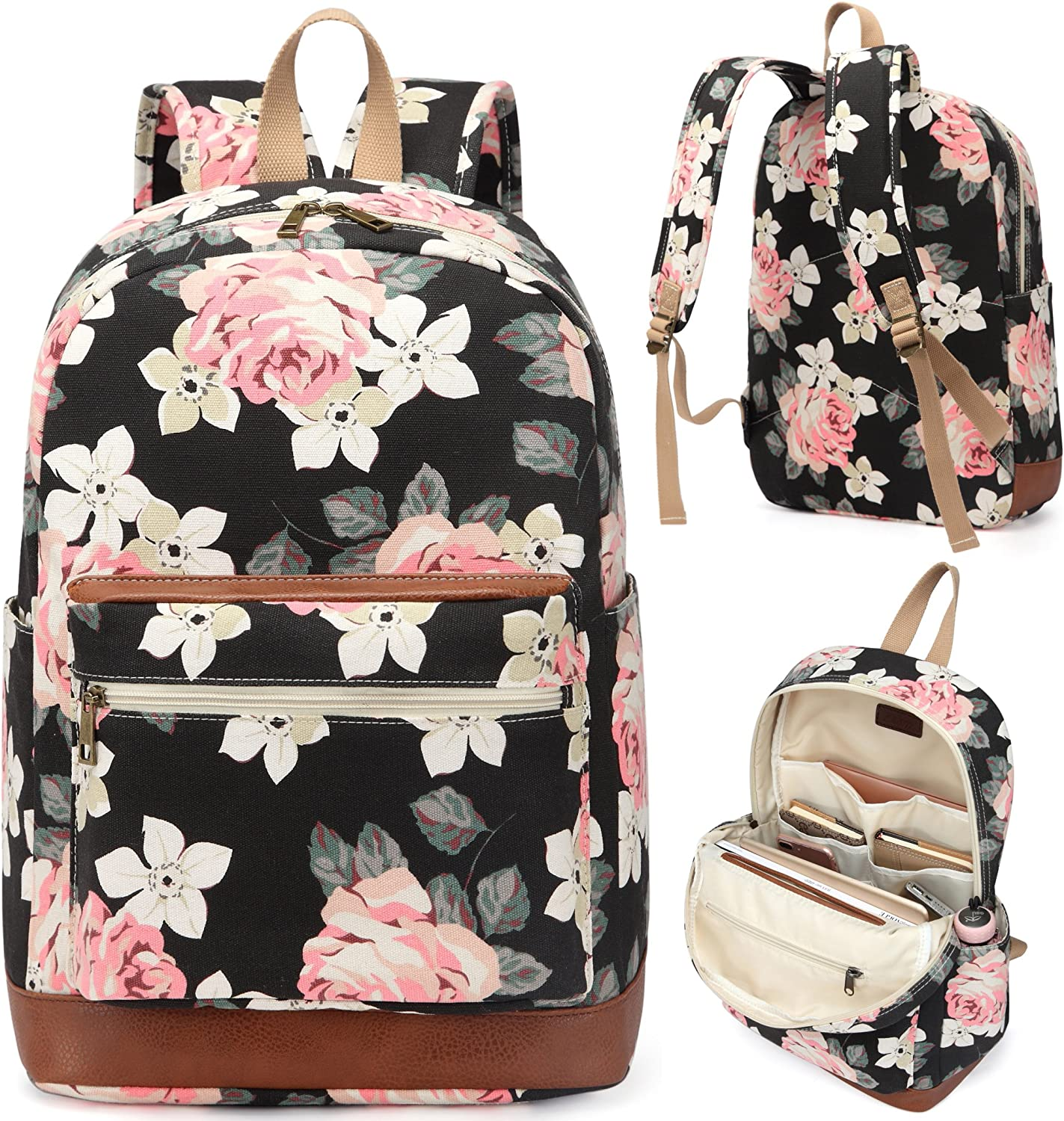 Kenox Girl s School Rucksack College Bookbag Lady Travel Backpack 14Inch Laptop Bag Floral