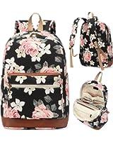 Kenox Girl's School Rucksack College Bookbag Lady Travel Backpack 14Inch Laptop Bag (Floral)