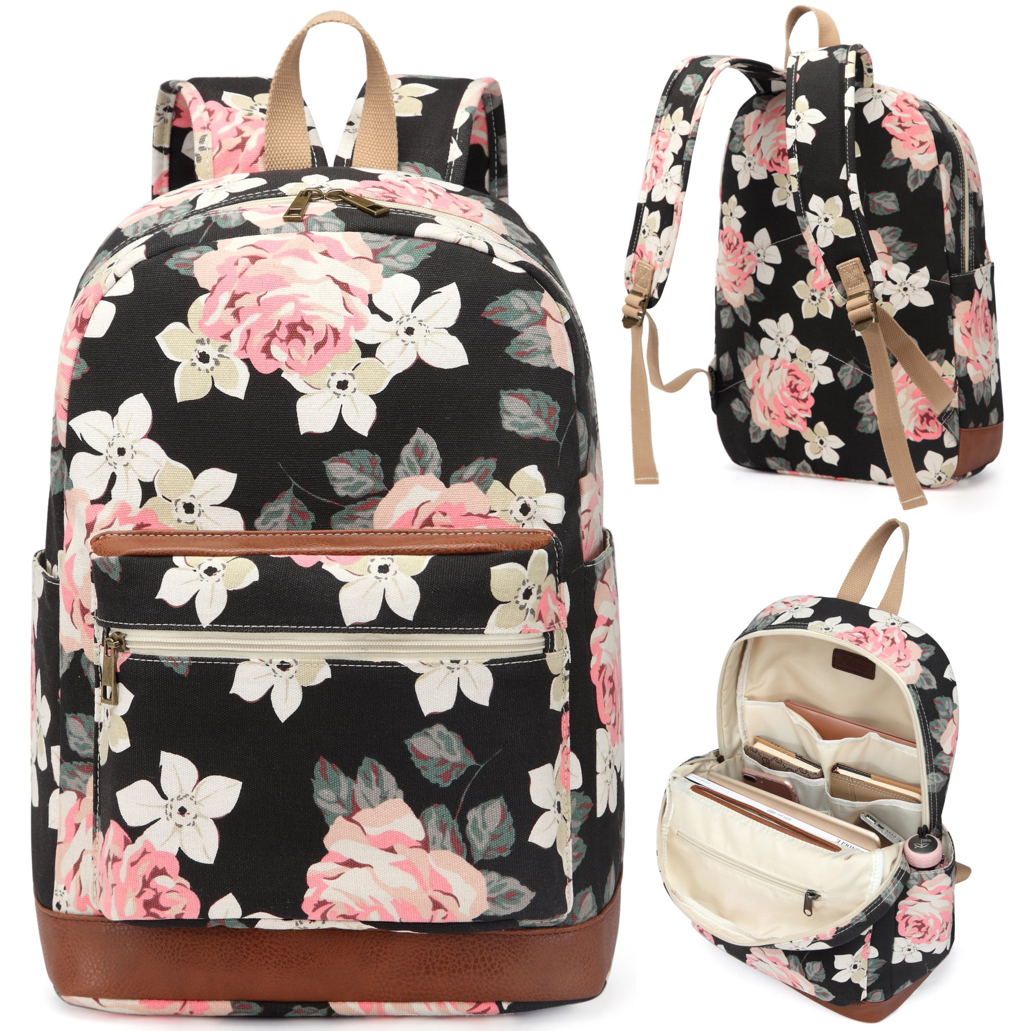 Kenox Girl's School Rucksack College Bookbag Lady Travel Backpack 14Inch Laptop Bag (Floral)
