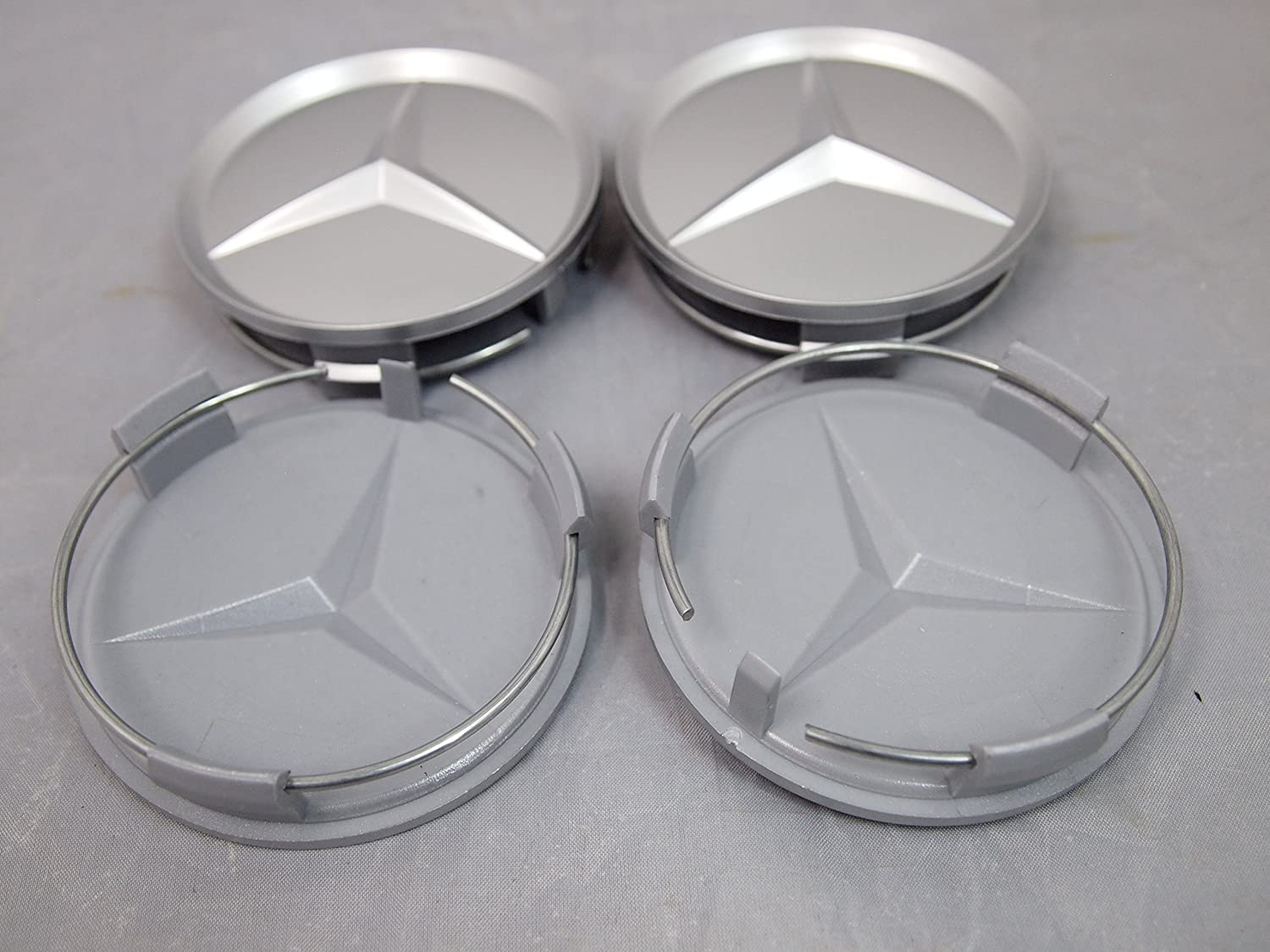CHANONE 4Pcs Wheel Center Cap for Mercedes Benz Accessories for 75mm MB Rims Car Accessory Silver AMG Logo Emblem Covers