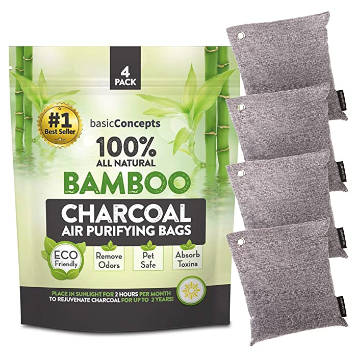 Bamboo Charcoal Air Purifying Bag (4 Pack), Eliminate Bad Odors, Activated Charcoal Odor Absorber (200g), Charcoal Air Freshener Bags for Car, Home, Closet, Gym Bag and more, Charcoal Deodorizer Bags