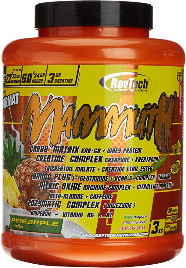 Revtech Mammuth Carbohidratos y Proteína, Sabor a Piña - 3000 ...