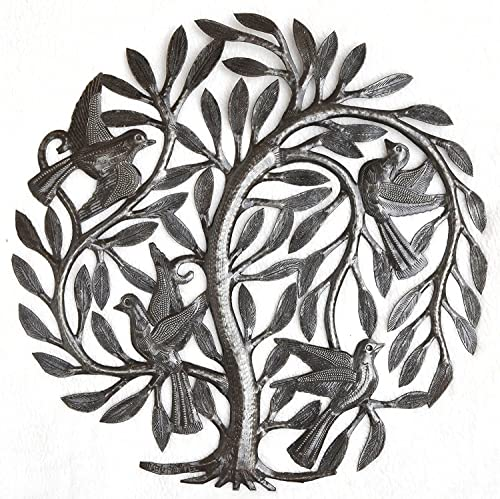 Small Leaving The Nest Tree, Metal Wall Art, Haitian Home Decor, Indoor and Outdoor, Fair Trade15 x 15 Inches Leaving The Nest Tree of Life