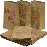 """Christmas cookie and candy kraft lunch bags, 3 assorted holiday prints, 10.75"""" H x 6"""" W x 3.5"""" gusset, pack of 48 bags"""